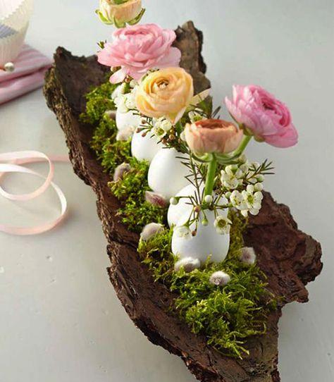 Bastelideen-für-festliche-Ostertischdeko-und-fröhliche-Osterstimmung-mit-Borke-und-Blumen