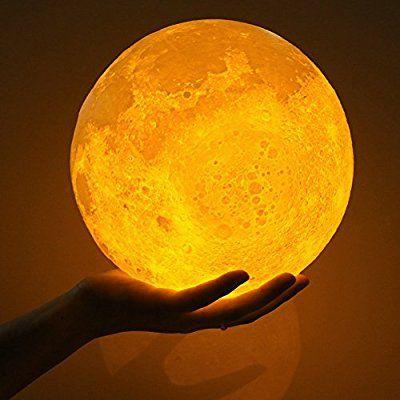 Mond Lampe Kinder Nachtlichter Kinderzimmer Touch Steuerung Helligkeit Led 3d Mondlampe Usb Laden Tischleuchte Mondschein L Nachtlampen Nachtleuchte Mond Lampe
