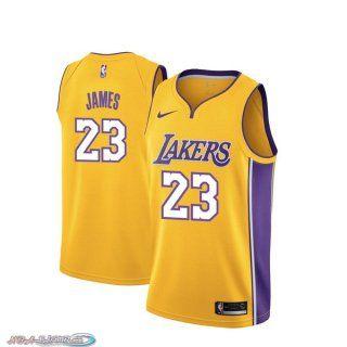 Maillot Basket NBA Los Angeles Lakers Lebron James Jaune Icon 2018 ...
