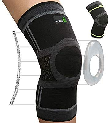 Techware Pro Knee Compression Sleeve Best Knee Brace With Side Stabilizers Patella Gel Pads For Kn Knee Compression Sleeve Compression Sleeves Knee Sleeves