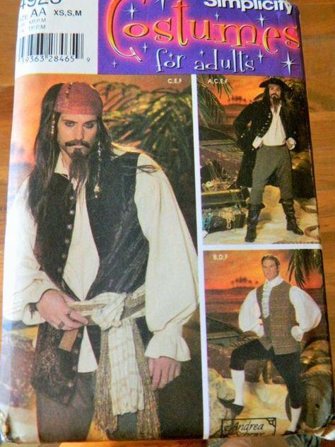 Simplicity Costume Pattern 4923 Carribean Pirate L-XL