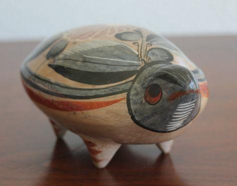 ceramic folk art bird slate grey and colourful splashes