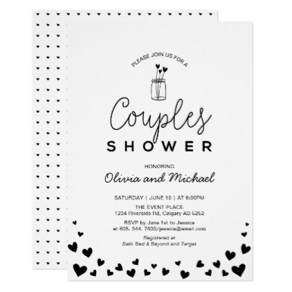 Heart Mason Jar Chic Black Couples Wedding Shower Invitation Zazzle Com Couple Wedding Shower Wedding Shower Cards Bridal Shower Gifts For Bride