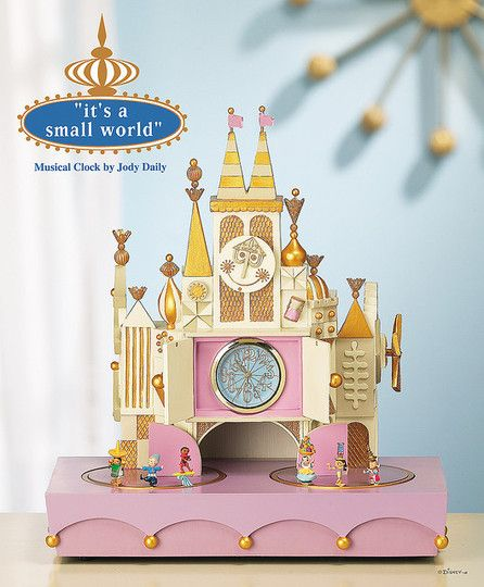 """It's a Small World"" themed musical clock. Makes looking up the time all the more happy :)"