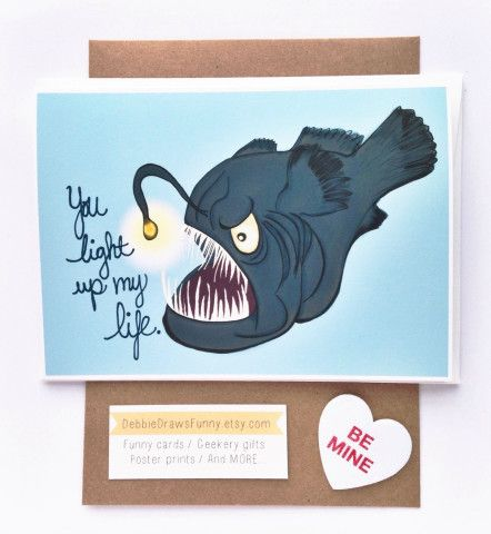 by Nerdy Words 4.25 X 5.5 Angler Fish Valentines Day//Love Card