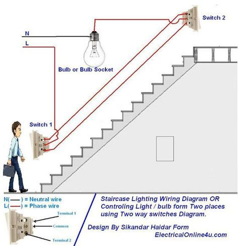 How To Control A Lamp Light Bulb From Two Places Using Two Way Switches For Staircase Lighting Circuit Casă Inteligentă Tehnologie Trucuri
