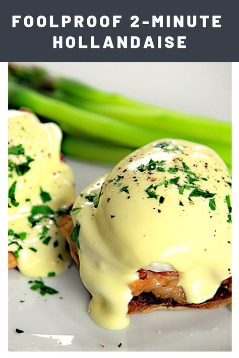 Quick Immersion Blender Hollandaise A 30 Second Hollandaise Sauce made quick and creamy with your immersion blender --- no cutting corners here, this is the authentic stuff! Easy Hollandaise Sauce, Blender Hollandaise, Holindaise Sauce, Hot Sauce, Breakfast Dishes, Breakfast Recipes, Breakfast Ideas With Eggs, English Muffin Breakfast, Sauces