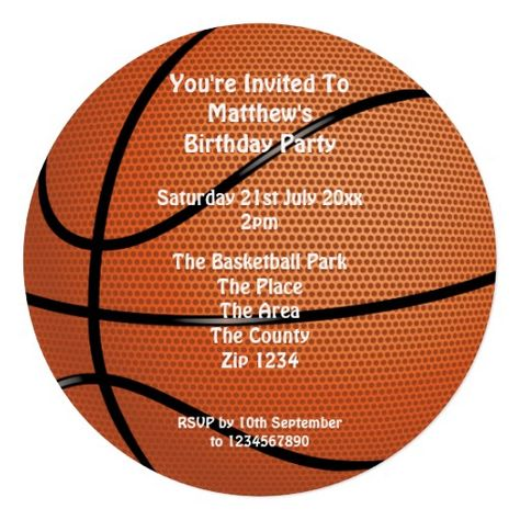 Basketball Party Personalized Invites