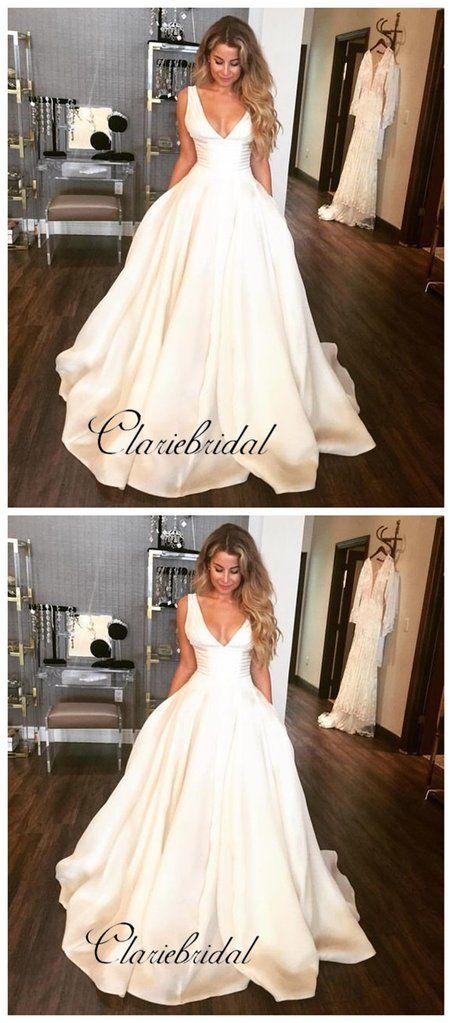 Custom Simple Design Stain A Line Wedding Dresses Popular V Neck