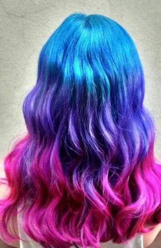 36 Ideas Hair Tips Blue Purple Blue And Pink Hair Colored Hair Tips Hair Color Unique