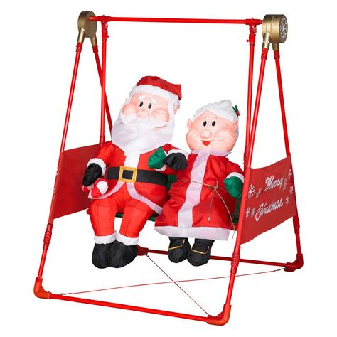 Airblown Mr. And Mrs. Claus On A Swing | Set