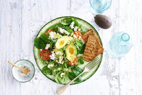Spinazie Ei En Avocado Met Geroosterd Brood Recept