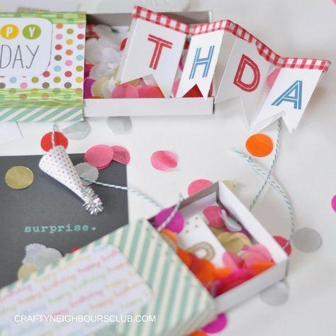 Mini-Girlande in der Streichholzschachtel.  DIY auf craftyneighboursclub.com #überraschungsbox #geburtstag #birthdaybox