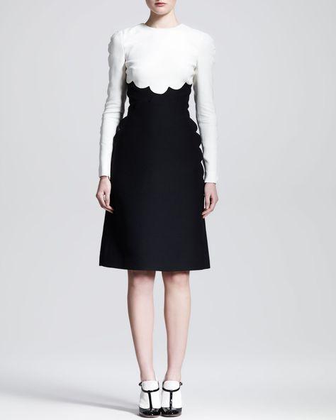 25f0faf6e9c Valentino Bicolor Scallop-Edge Long-Sleeve Dress - Neiman Marcus ...