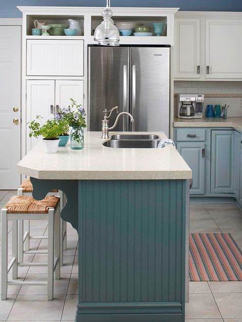 We love the soft blue hue of this kitchen island! More kitchen island designs: http://www.bhg.com/kitchen/island/kitchen-island-designs-we-love/?socsrc=bhgpin122813blueisland&page=7