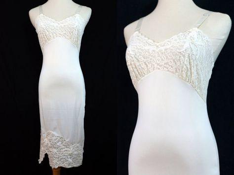 1960s White Full Slip Dress Lace Appliqué by ReitaPieVintage
