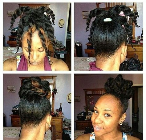 The Twisty Topknot | 29 Awesome New Ways To Style Your Natural Hair l