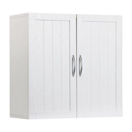 Wooden Bathroom Storage Floor Cabinet with 2 Doors and Adjustable Shelf White