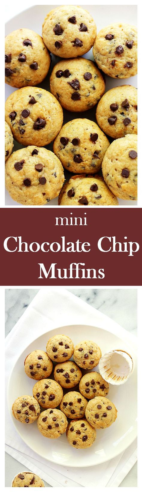 Mini Chocolate Chip Muffins | www.diethood.com | Soft, tender and sweet, this recipe for Mini Chocolate Chip Muffins is perfect for a lunch box or an after school treat!