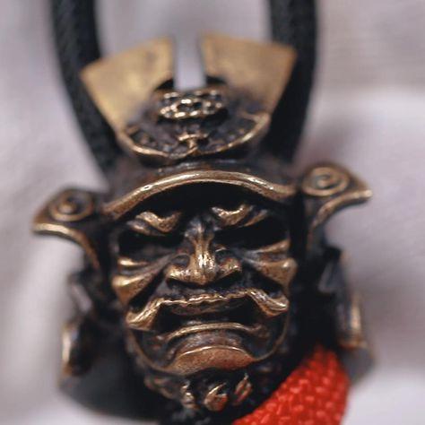 Brass Japanese General, Samurai Paracord Lanyard Bead for Knife, Bracelet, and EDC Gears, ShadowEDC