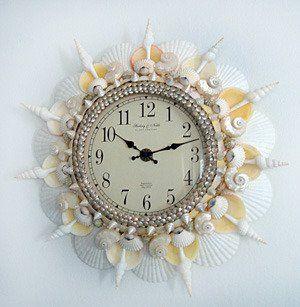Craft clocks on pinterest clock wall clocks and clock for Seashell clock