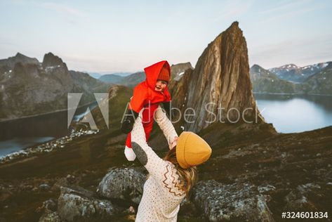Family vacations mother holding up baby traveling in Norway hiking together active healthy lifestyle mom and kid outdoor happy emotions Segla mountain view , #AFFILIATE, #Norway, #traveling, #active, #hiking, #baby #Ad