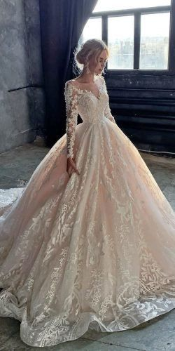 Ball Gown Wedding Dresses Fit For A Queen ★ ball gown wedding dresses with long sleeves lace blush train olivia bottega