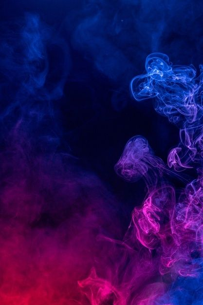 Colorful Red And Blue Color Smoke Isolated On Black Background