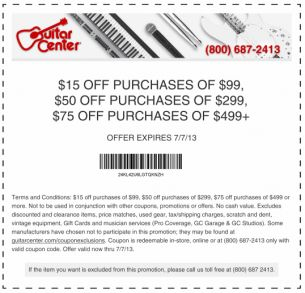 picture about Guitar Center Printable Coupon named Guitar Middle Coupon codes! Present this a \