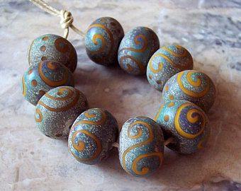 lampwork bead set sra lampwork murano glass beads round beads funky bead set Boho bead set artisan bead set