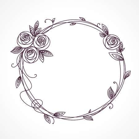 Abstract line elegant floral frame as element for wedding , birthday, valentines day and other romantic design. Wreath of rose flowers. Stock Vector - 80323158