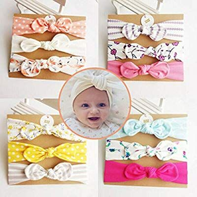 Aerobin Baby Girl Headband Cute Bow Hair Turban Head Band for 3-6 Toddlers Hair Accessories 12-18 Months Newborns Girls Multicoloured,3Pcs//Set Infants 6-12