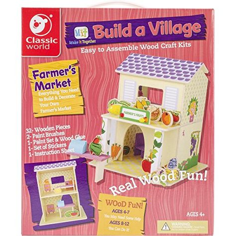 cbbce5a3a Kids' Wood Craft Kits - Classic Build A Village FarmerS Market Building Kit  ** Want to know more, click on the image.