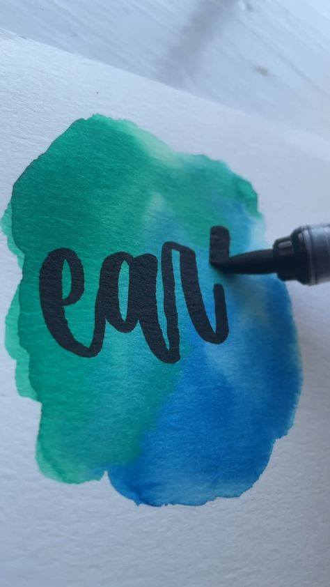 EARTH HAND LETTERING AND WATERCOLOR AND CALLIGRAPHY USING BRUSH PENS