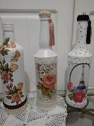 Resultado De Imagen Para Botellas Decoradas Con Servilletas De Navidad Diy Bottle Crafts Bottle Crafts Painted Wine Bottles