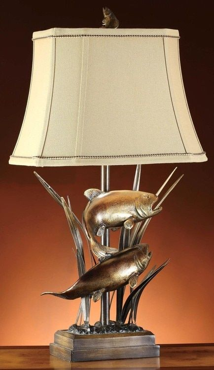 Upstream Trout Table Lamp Rustic Table Lamps Table Lamp Crestview Collection