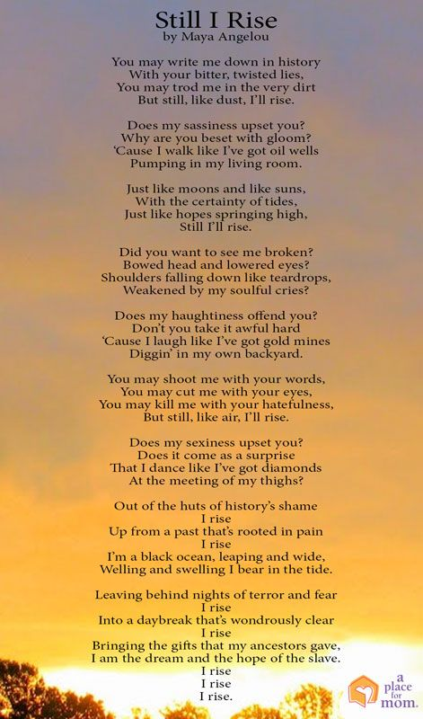 an analysis of still i rise by maya angelou Title okay, i'm expecting something defiant and strong gut reaction defiant strong you will not put me down i love this poem what does it all mean.