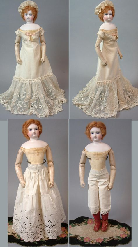 """18"""" French Fashion Doll With Cobalt Eyes, Kid Over Wood Body and Full C. 1873 Trousseau with Four Ensembles!"""
