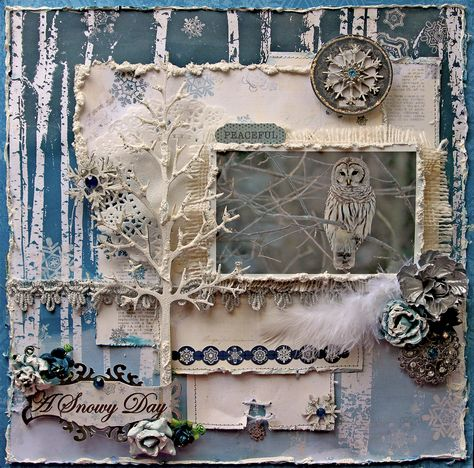 Peaceful *Scraps Of Darkness* December Kit~Winter Wonderland - Scrapbook.com Very beautiful LO