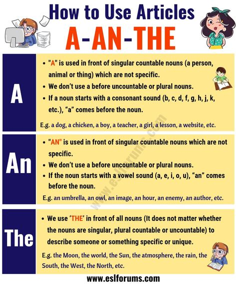 The Indefinite and Definite Articles in English   Using A, AN, THE - ESL Forums