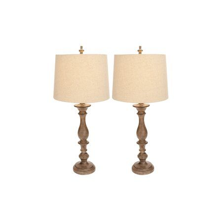 Decmode Farmhouse 34 Inch Distressed Polystone Table Lamp Brown Set Of 2 Tablelamps Lamp Farmhouse Lamps Table Lamp
