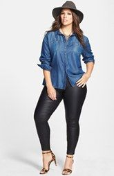 One day, I'llll grow a pair and wear hats out and about. Sejour Chambray Shirt & City Chic Stretch Skinny Jeans (Plus Size) available at Not a fan of the pants but this is a fun low key stylish look