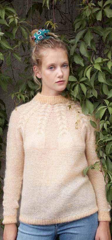 genser med fletter og rundfelling