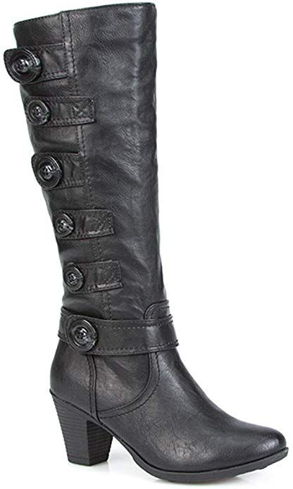 Pavers Knee High Boot with Button