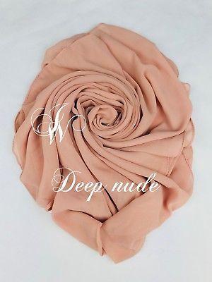 High Quality Plain Chiffon Hijab Scarf Shawl Wrap Soft Georgette Dubai Elegant