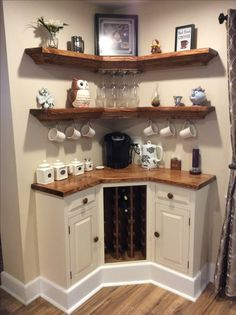 Built In Corner Coffee Wine Bar For The Home Home Coffee