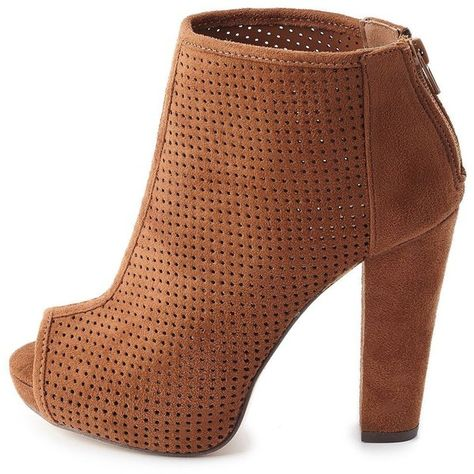 a9a6252c2c1 Charlotte Russe Perforated Peep Toe Booties ( 39) ❤ liked on Polyvore  featuring shoes
