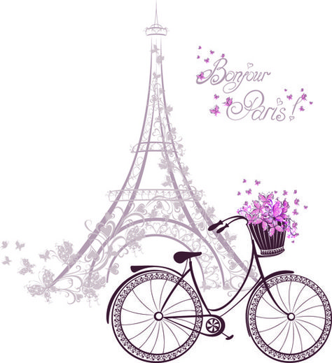 beautiful floral with france symbols vector