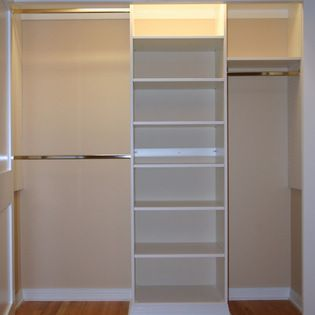 Reach In Closet Layouts For His And Her | STANDARD CLOSET KIT W/ SHELVING  (4 SECT.) (6 9.5ft) | Organization | Pinterest | Closet Layout, Shelving  And ...