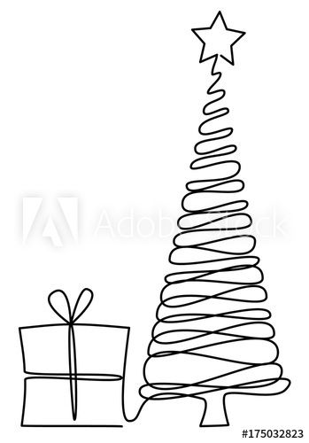Christmas Tree One Line Drawing Buy This Stock Vector And Explore Similar Vectors At Adobe Stock Line Drawing Drawings Tree Art
